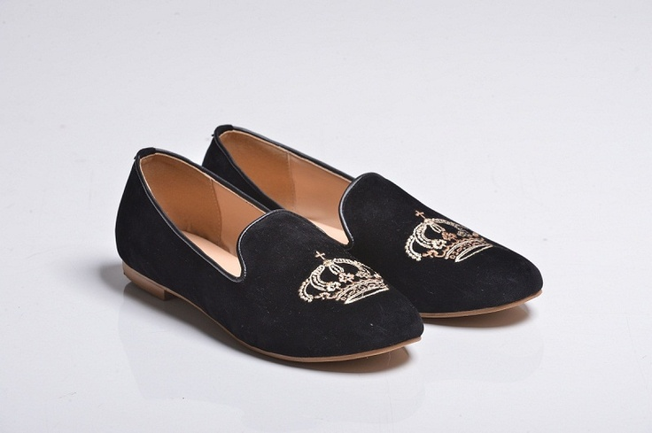 Black Crown Velvet Slippers