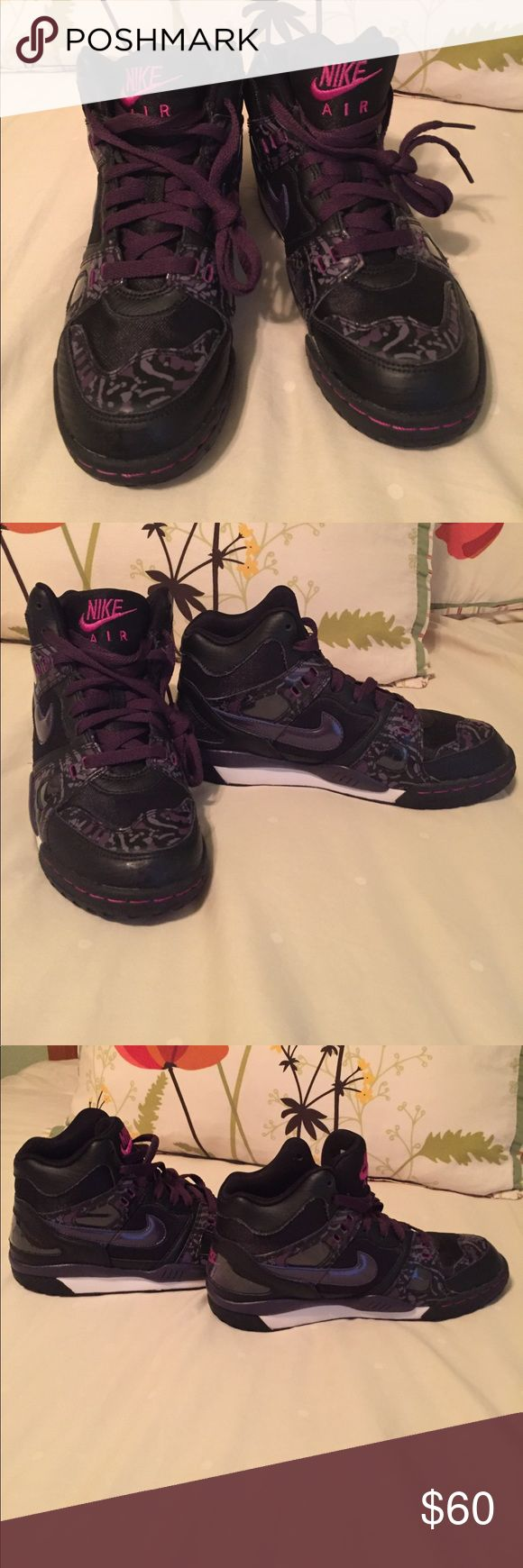 Nike Air Like New hightops black and purple Black with purple camo design and some pink stitching. These have only been worn ONCE, indoors for a dance competition so they are new condition! Nike Shoes Sneakers