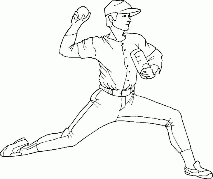 A Pitcher About To Throw The Baseball Coloring Page