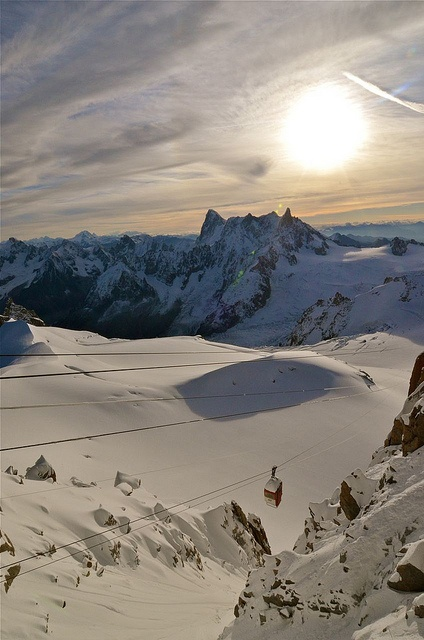 Old Cable Car and Grandes Jorasses, Chamonix Mont Blanc, French Alps