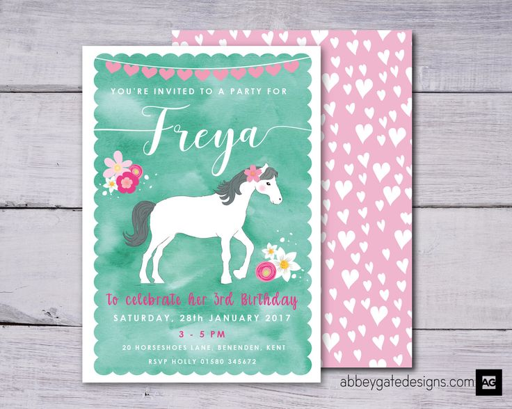 Horse Birthday Party Invitation, Pony Party Printable, Personalised Horse Party, Cowgirl Invitation, Green and Pink, Floral Pony Invitation by abbeygatedesigns on Etsy https://www.etsy.com/listing/504784459/horse-birthday-party-invitation-pony