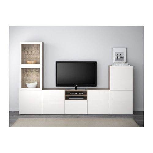 BESTÅ TV storage combination/glass doors - walnut effect light gray/Selsviken high gloss/white clear glass, drawer runner, push-open - IKEA