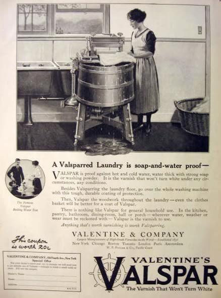 1921 Valentine's Valspar Varnish Ad ~ Old Washing Machine