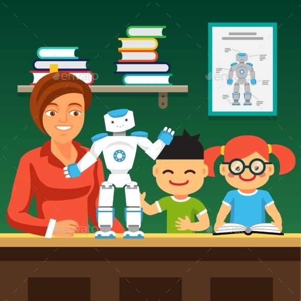 Students Learning Robotics with Teacher and Robot by IconicBestiary Young honors course students learning robotics with teacher and humanoid bipedal robot.Flat style vector illustration isolated on