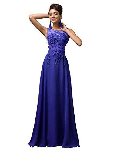 Yafex Damen Blau Traegerlos A-Linie Formal Ballkleid Gr.36
