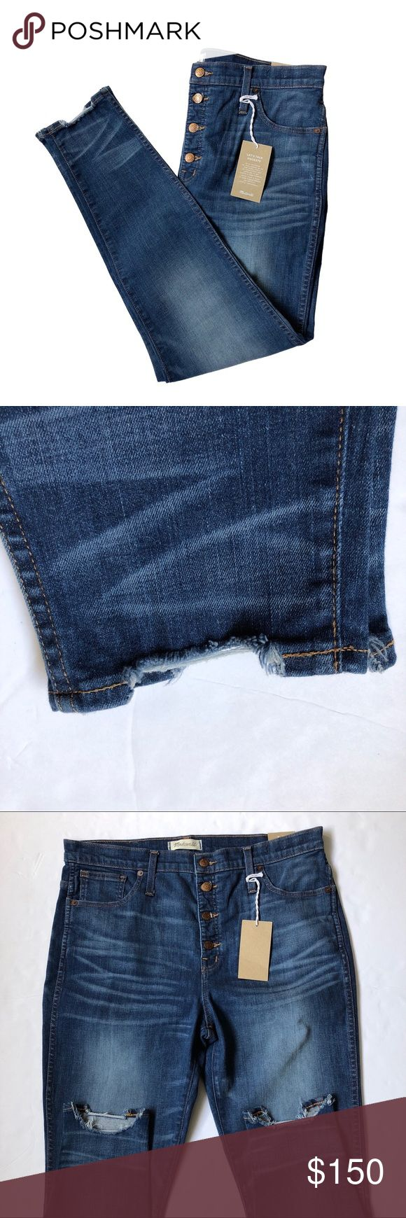 """Madewell High-Rise Chewed-Hem Skinny Jeans Size 32 Copeland wash chewed-hem skinny jeans from Madewell. New with tags, never worn. Size 32.   88% cotton/8% poly/4% elastane denim A medium indigo wash with vintage-y """"chewed"""" hems. Copper hardware, contrast stitching, button-through fly. Fitted through hip and thigh with a skinny leg.  Measurements (not doubled, approximate and taken with garment laid flat): - Waist: 17.75"""" - Hips: 20.25"""" - Rise: 12.25"""" - Thigh: 11.5"""" - Inseam: 28.25"""" - Leg…"""