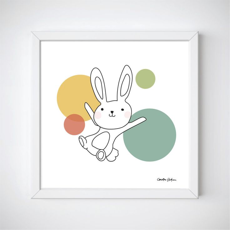"Space Rabbits -VEGA Illustration of a cute rabbit jumping around in space. ""VEGA"" is a part of the Space Rabbits collection.  This poster is perfect for a nursery or a child's room.   #illustratör #illustration #rabbit #rbbits #space #planets #cute #poster #prints #kidsroom #kidsposter #children #kidsroominspo"