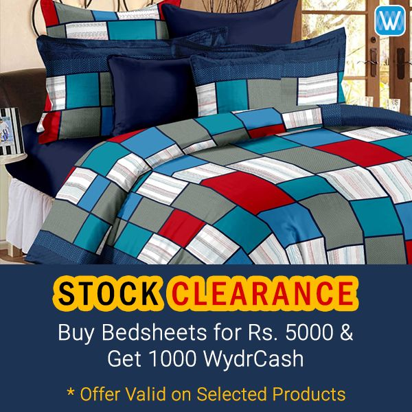 Stock Clearance Sale!! Buy Bedsheets for Rs. 5000 & Get 1000 Wydrcash. Offer Valid on Selected Products & till Stock last.