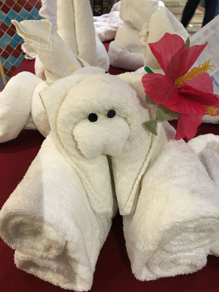 Animals from the towel folding creations done by the cabin staff