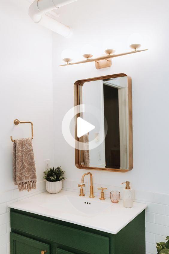 Half Bathroom Decor, Rose Gold Bathroom Mirror Cabinet