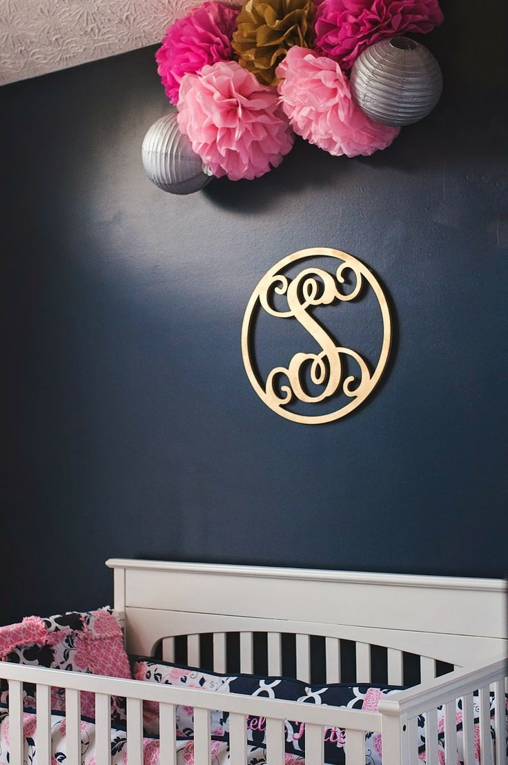 Navy blue and pink bedroom - Navy Pink Gold And Grey Nursery