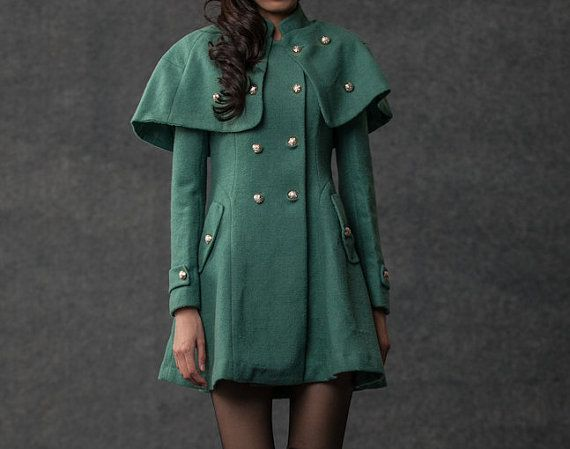 Green Cape Coat  Wool Winter Womens Military Style by YL1dress, $178.00