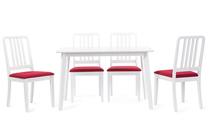 Jasmine 5-Piece White Wood Dining Set Red Dining Chair
