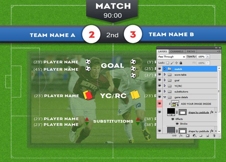 Soccer Football Score Board PSD Template | PSDDude