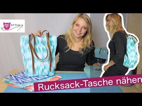 Rucksack-Tasche mit Lederriemen nähen – DIY Eule - YouTube