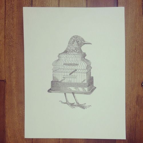 "De la serie "" Original Vs Copia "" La jaula en el pájaro "" ""  #Himallineishon #bird #cage #illustration #drawing #art"