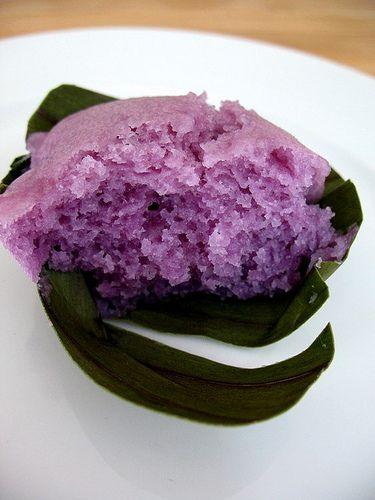 Ube Puto on A Banana Leaf  (Steamed Rice Muffins): White, Purple Yam, And Pandan ~(Oggi- I Can Do That!blog)