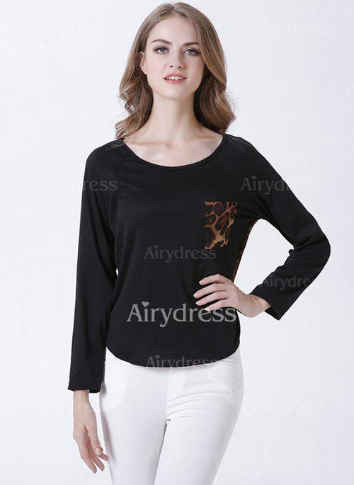 T-shirts - $16.47 - Cotton Chiffon Leopard Round Neck Long Sleeve Casual T-shirts & Vests (1685123197)