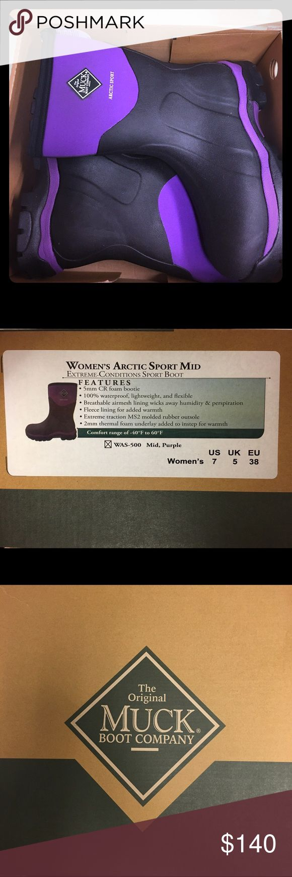 Womens Purple Muck Boots Arctic Sport Mid-height These are brand new, never worn. Warm, comfortable, and waterproof! 🎉FREE gift with every purchase🎉 Muck Shoes Winter & Rain Boots