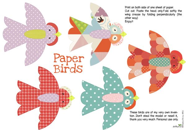 lovely little birds, print, fold in half and hang them, so pretty!