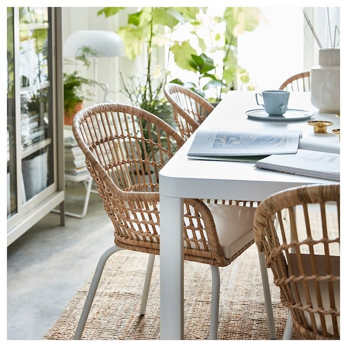 Ikea Sedie In Rattan.Nilsove Armchair Rattan White Rattan Dining Chairs Dining
