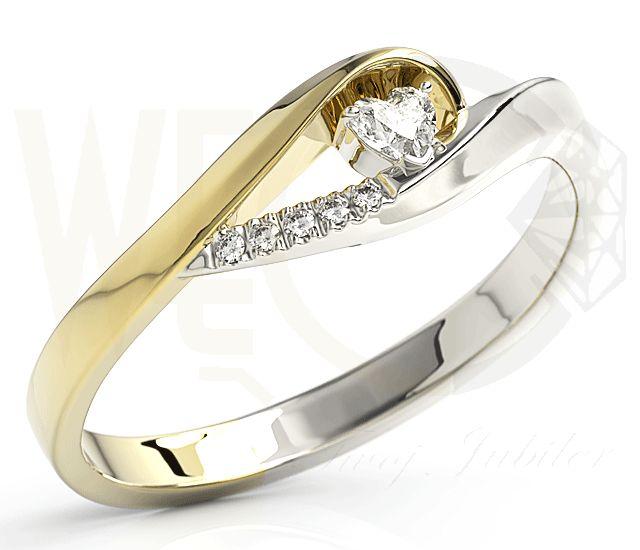 Pierścionek z cyrkoniam i diamentem. Yellow and white gold zirconia ring.