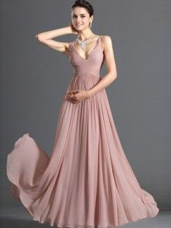 Pretty A-Line Floor-Length Zipper Up Spaghetti Neckline Chiffon Prom/Event Dresses but in lilac