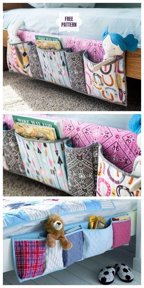 DIY Bedside Pocket Organizer Free Sewing Pattern &…