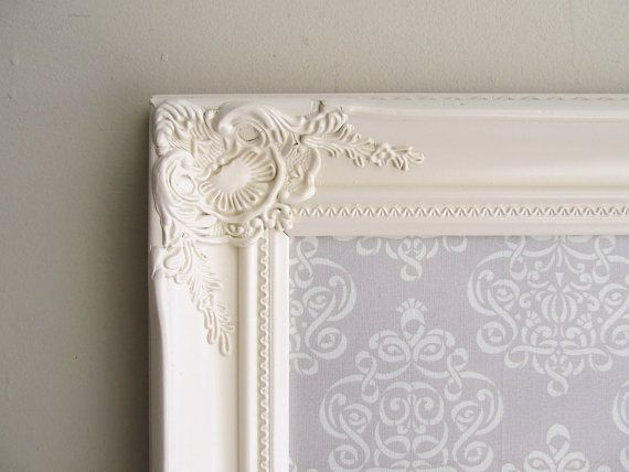 MEMO BOARD Grey Ivory Magnet Board French Country by ShugabeeLane