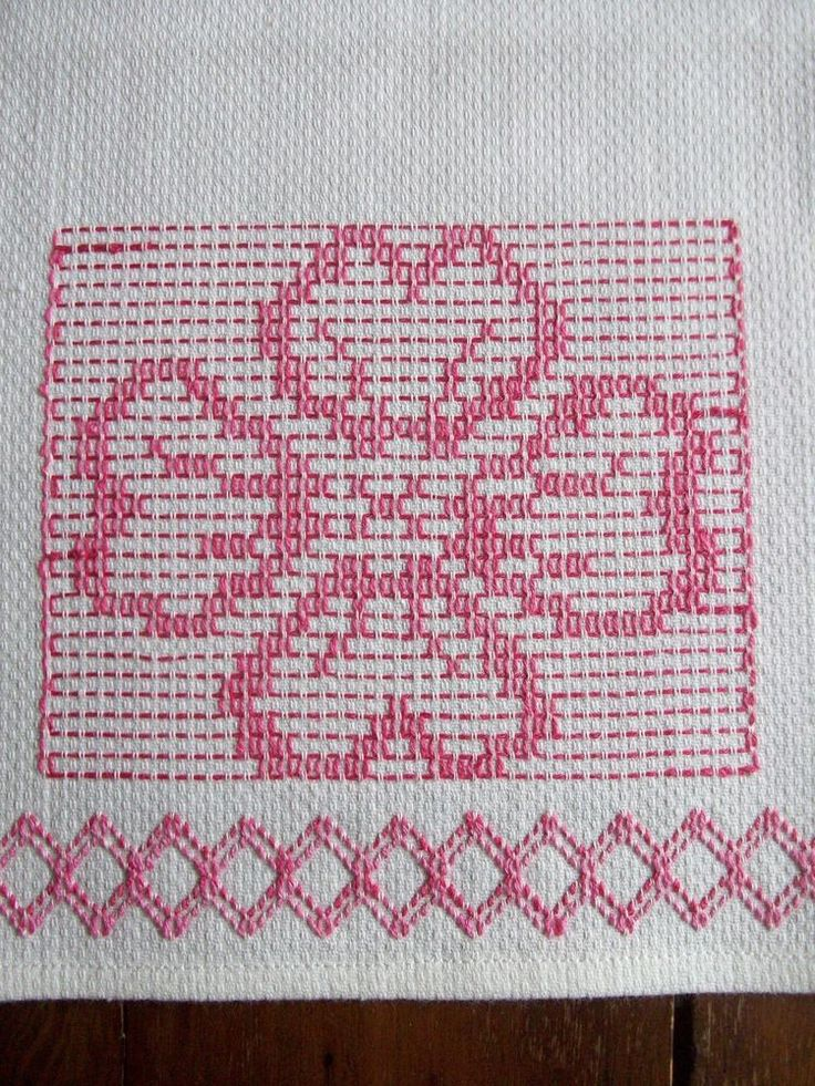 UNUSED VINTAGE COTTON HUCK TOWEL ~ HAND EMBROIDERED PINK SWEDISH WEAVING DESIGN