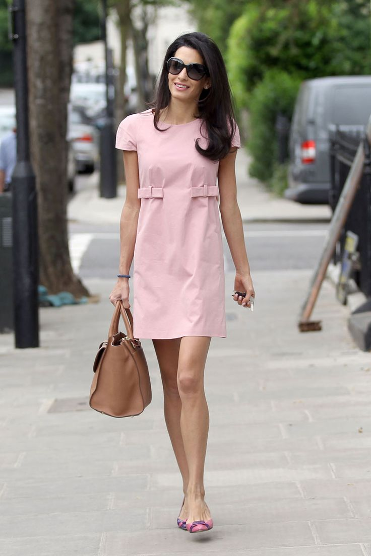 Amal Alamuddin Clooney - pretty in pink, out and about in London