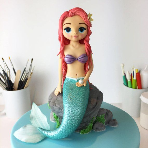 Mermaid Cake Topper Pdf Tutorial With Templates Mermaid Cakes Cake Topper Tutorial Mermaid Birthday Cakes