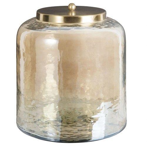 Boîte ronde en verre teinté ambre et métal doré