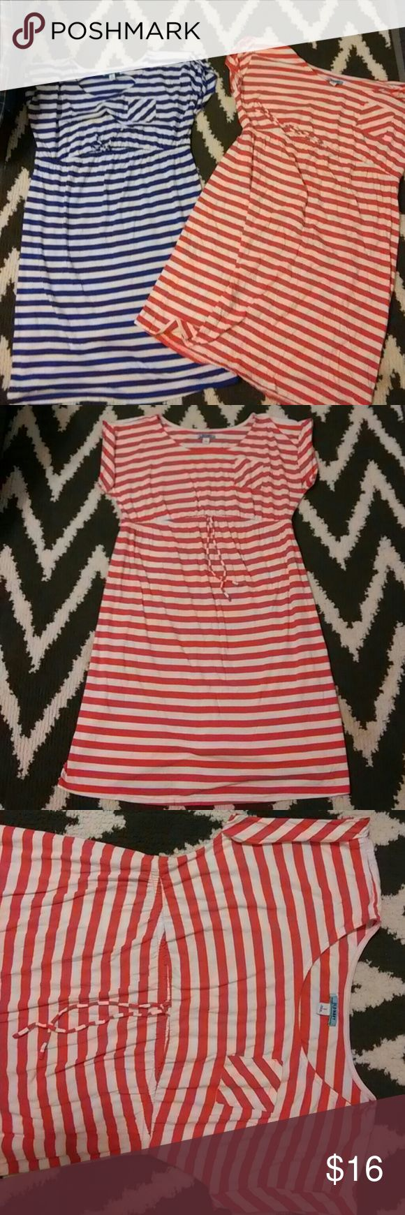 🚫SOLD🚫SOLD Maternity dresses 2 Old Navy maternity dresses, one blue and white stripes other red-orange and white stripes selling together 1 price perfect condition no rips or stains,both size Large Old Navy Dresses