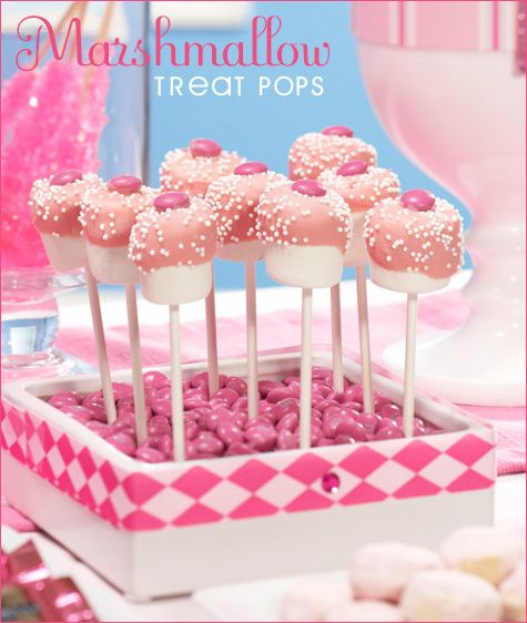marshmallow pops with pink frosting & sprinkles