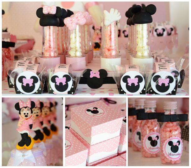 Tubetes, garrafinhas e caixinhas decoradas com tags Minnie - Manuela - 1 ano