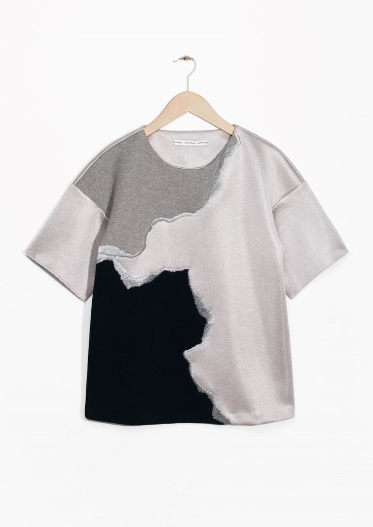 Embroidery Jersey Top   Grey   & Other Stories