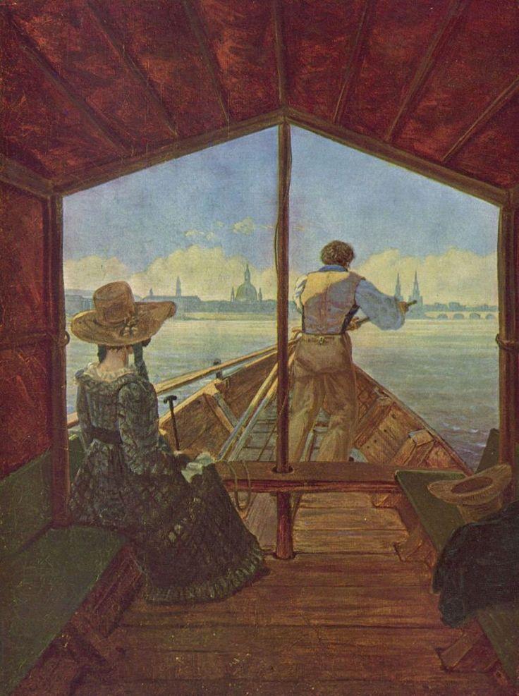 """Carl Gustav Carus,  """"Gondelfahrt auf der Elbe bei Dresden"""".1827, Öl auf Leinwand, 29 × 22cm.Düsseldorf, Kunstmuseum.Deutschland.Romantik.  KO 00133"""