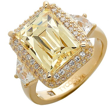 lovetoshop tycoon for diamonelle sterling silver halo cocktail ring gold plate