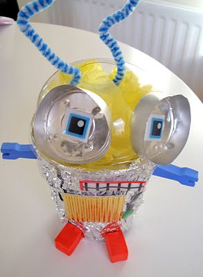 Junk Model Robots~ SO CUTE! @Heidi Haugen Caldwell great rainy day project for the boys! =-)