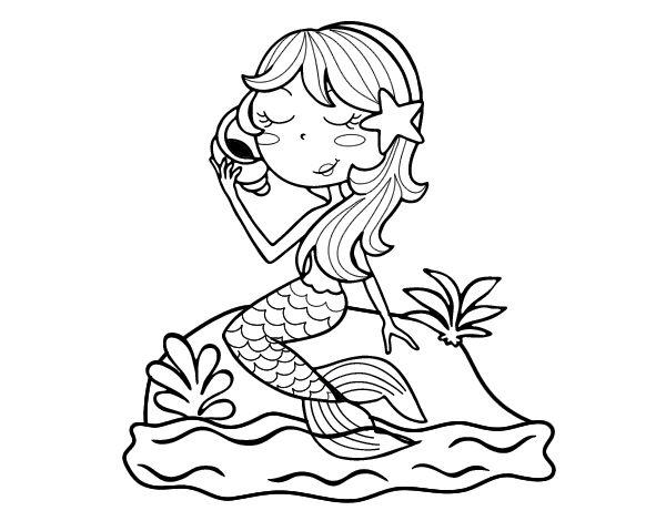 Dibujo De Chilena Para Colorear: Dibujo De Sirena Sentada En Una Roca Con Una Caracola Para
