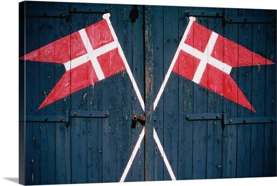 Danish flags on a Door, Ribe, Fano Island, Denmark, Europe