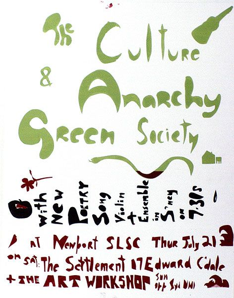 Geoff Shera and Chips Macanoulty TIN SHEDS ART WORKSHOP |The culture & anarchy. Green society with new poetry, song.