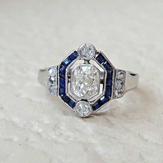 Vintage Antique Art Deco Old Mine and Rose Cut Diamond Sapphire Halo Estate Ring Size 5.5 in 18k White Gold