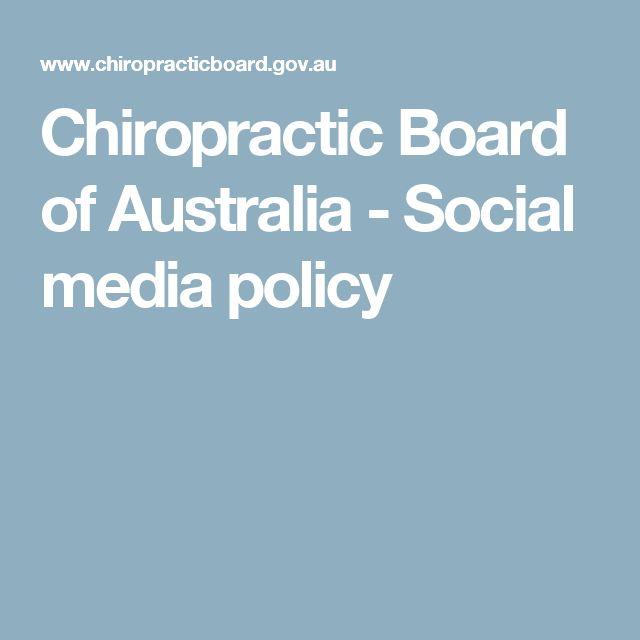 Chiropractic Board of Australia - Social media policy