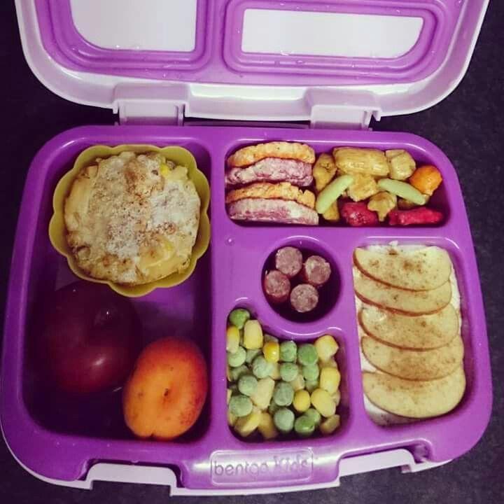 Mini tuna and macaroni cheese bake, plum, apricot, peas and corn, apple and cinnimon yoghurt, twiggy stick, purple and orange carrot mini rice cakes, rice snacks.