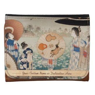 Vintage ukiyo-e japanese ladies with umbrella art Small Trifold Leather Wallet #leather #vintage #wallet #geisha #ladies #woman #umbrella #Japan #japanese #art #gift #customizable #dedication