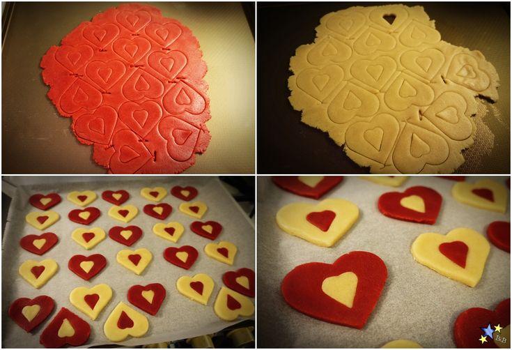 Recept Red velvet dubbele hartvorm Valentijn koekjes
