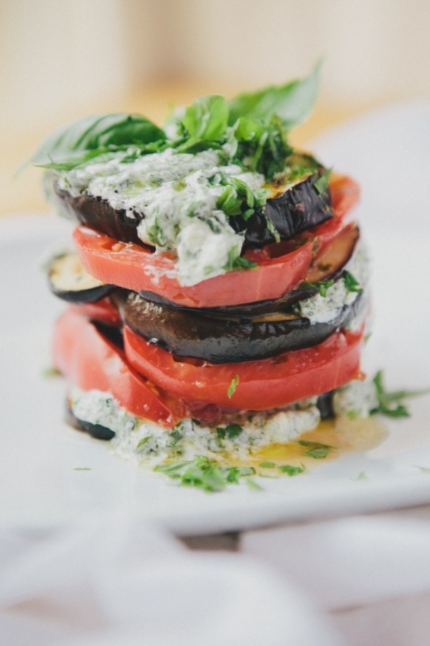 Grilled Eggplant Tomato Stacks by HappyolksTomatoes Recipe, Tomatoes Stacked, Summer Recipe, Herbs Sauces, Goats Cheese, Eggplants Tomatoes, Heirloom Tomatoes, Greek Yogurt, Grilled Eggplants