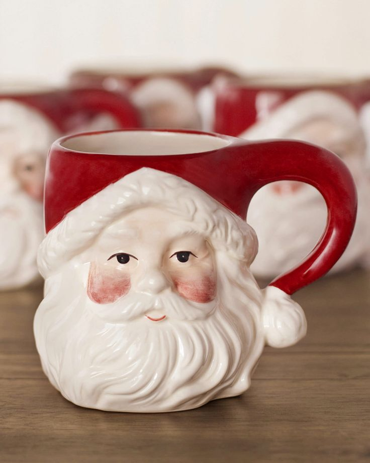 Christmas Gift Idea - Handcrafted Ceramic Santa Hot Chocolate Mugs (Set of 4) $39.00
